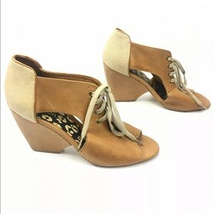 Gorman Brown Leather Cut Out Wedge Shoes Size 40